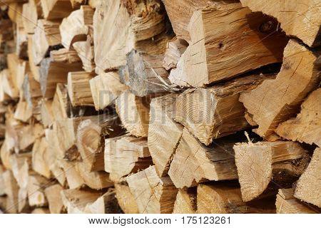 Pile of Firewood in Klostertal Alps. Vorarlberg. Austria