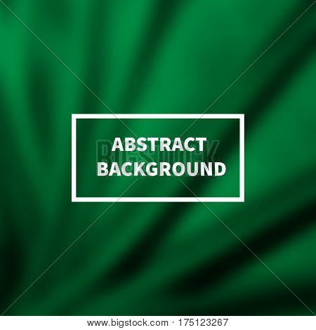 Abstract green silk smooth blurred background with folds. Satin backdrop for cosmetic products. Vector illustration.