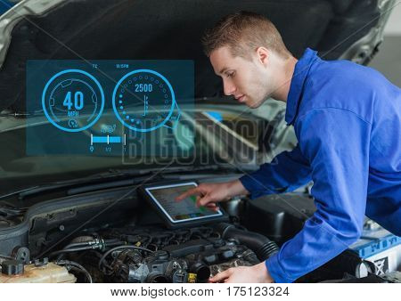 Digital composition of mechanic using digital tablet while working against car mechanics interface in background