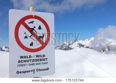 Warning Sign in Vorarlberg. Klostertal Alps. Austria