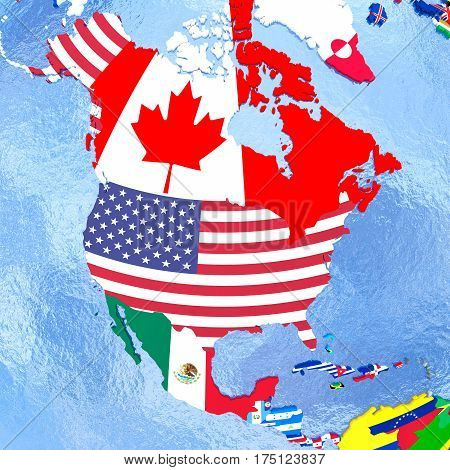 North America On Political Globe With Flags