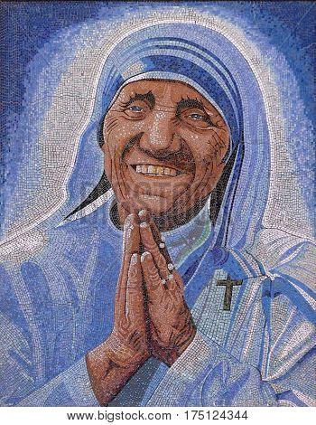 VAU I DEJES, ALBANIA - SEPTEMBER 30: Mother Teresa mosaic in the Mother Teresa cathedral in Vau i Dejes, Albania on September 30, 2016.