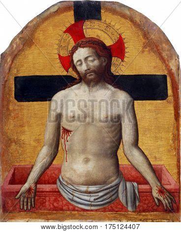 POREC, CROATIA - DECEMBER 12: Antonio Vivarini: Imago Pietatis, Altarpiece in Euphrasian Basilica in Porec, Croatia on December 12, 2011