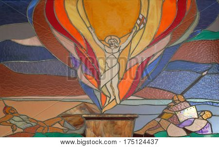 VAU I DEJES, ALBANIA - SEPTEMBER 30: Resurrection of Christ stained glass window in Mother Teresa cathedral in Vau i Dejes, Albania on September 30, 2016.