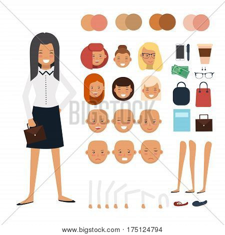 Woman character constructor. Businesswoman character creation set. Cartoon vector flat-style infographic illustration