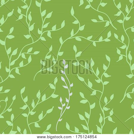 Greenery leaves seamless pattern. Color of the year 2017 background. Greenery trendy background.