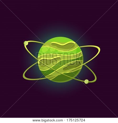 Fantasy planet logo. Flat style vector illustration for games and apps.Green planet with asteroid belts on black background.