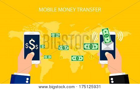 Concept online banking, Mobile money transfer, financial operations.