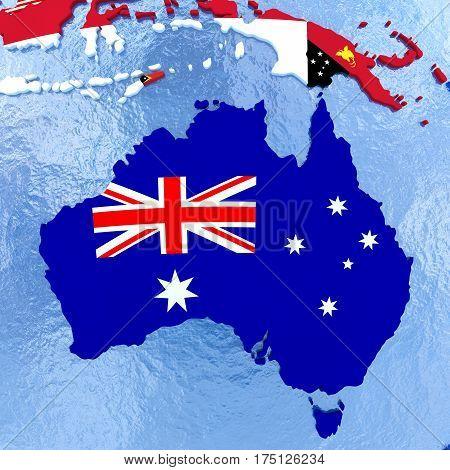 Australia On Political Globe With Flags