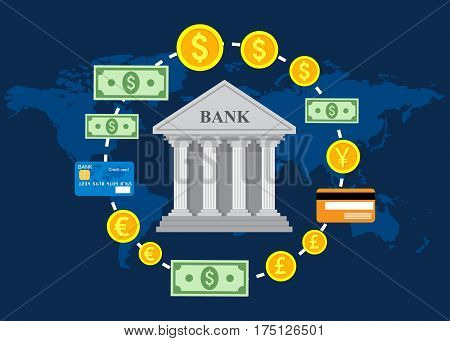 Banking concept, global foreign exchange market, banking trade, banking system. Vector illustration.