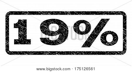 19 Percent watermark stamp. Text caption inside rounded rectangle frame with grunge design style. Rubber seal stamp with dirty texture. Vector black ink imprint on a white background.