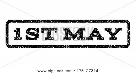 1st May watermark stamp. Text tag inside rounded rectangle with grunge design style. Rubber seal stamp with unclean texture. Vector black ink imprint on a white background.