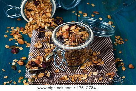 Healthy Homemade Granola With Nuts And Dried Cranberries