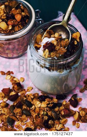 Yogurt With Granola, With Nuts And Berries.