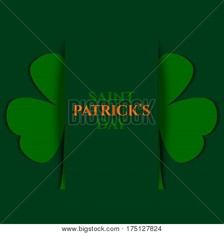 Shamrock leaf for Saint Patrick's Day celebration with place for your text. Festive card template. Vector illustration.