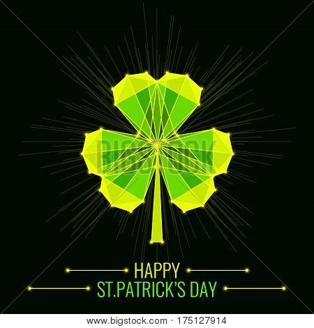 St. Patrick's Day symbol. Creatives emerald shamrock leaf for Irish holiday celebration. Green clover with luminous nodes at the intersections of the ribs. Vector illustration.