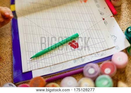 scissors, notebook, pens pencils stickers markers blank