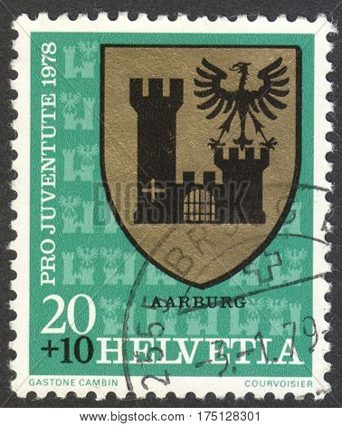 MOSCOW RUSSIA - CIRCA FEBRUARY 2017: a post stamp printed in SWITZERLAND shows Aarburg arms the series