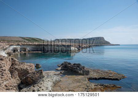 Sea Caves near Cape Greko. Mediterranean seaCyprus
