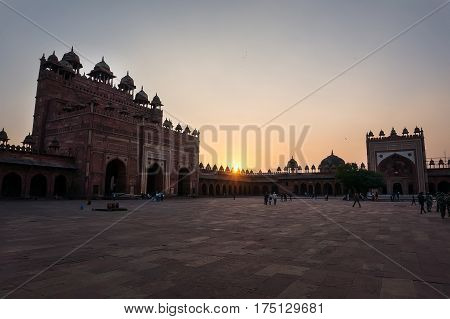 Sunset at Fatehpur Sikri Agra India. Red Fort. an outdoor courtyard in the ancient Mughal city of Fatehpur