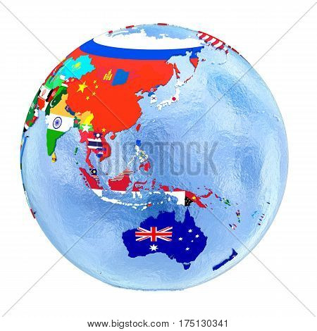 Australasia On Political Globe With Flags Isolated On White