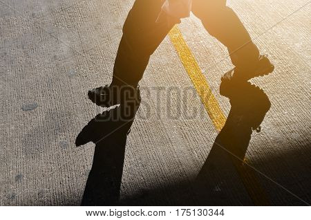 Man walking or stepping failure to success concept.