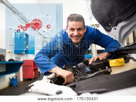 Digital composition of mechanic working in garage against car mechanics interface in background