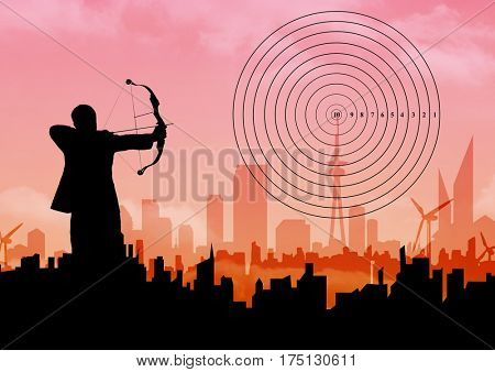 Digital composition of businessman aiming with bow and arrow at target over cityscape