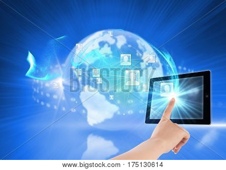 Digital composition of man touching digital tablet against networking concept in background