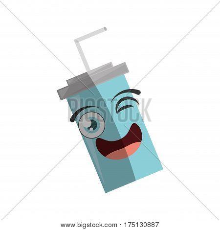 cartoonplastic cup soda straw wink vector illustration eps 10