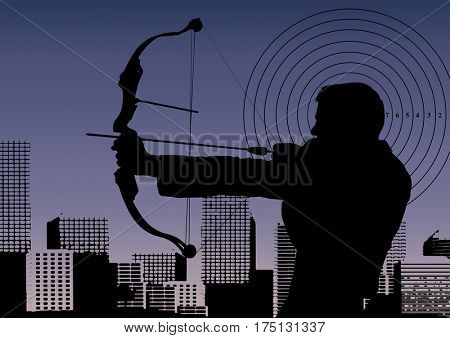 Digital composition of businessman aiming with bow and arrow against cityscape