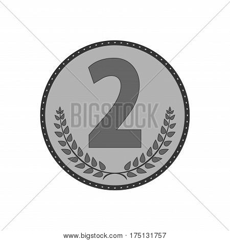 Silver medal sign. Symbol of achievement. Monochrome round medallion isolated on white background. Achievement flat mark. Concept of award. Modern art scoreboard. Stock vector illustration