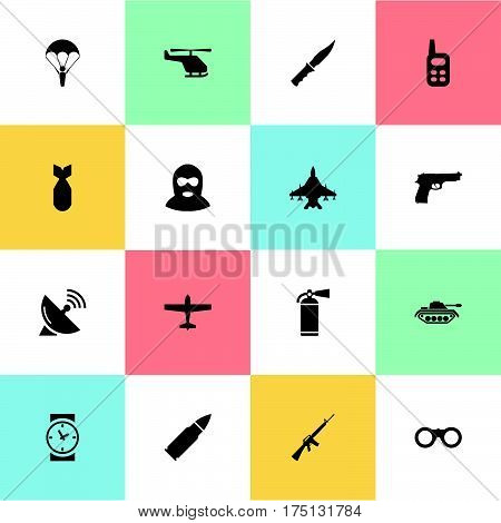 Vector Illustration Set Of Simple Army Icons. Elements Watch, Paratrooper, Sky Force And Other Synonyms Paratrooper, Terrorist And Ammunition.