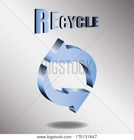 Vector illustration of 3d arrows, logo design. Recycle symbol isolated on white. Symbol of recycle, refresh or endless movement