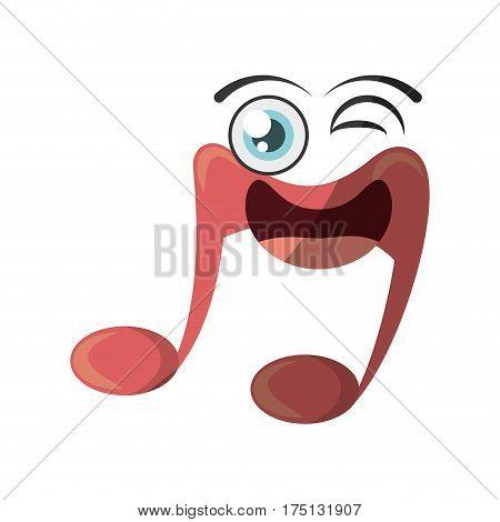 cartoon music note symbol wink vector illustration eps 10