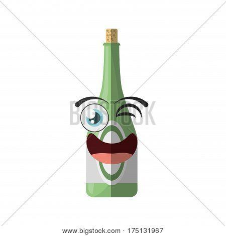 cartoon bottle drink party wink vector illustration eps 10