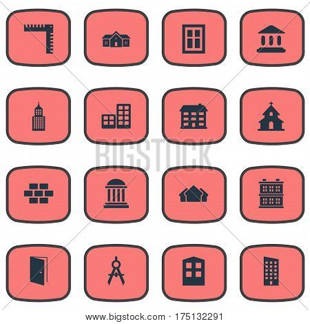 Vector Illustration Set Of Simple Construction Icons. Elements Flat, Shelter, Residence And Other Synonyms Stone, Wall And Shack.