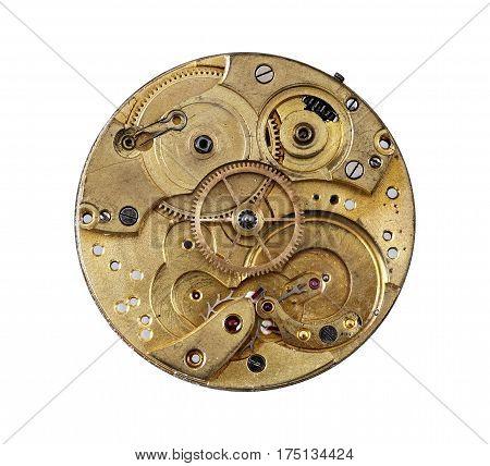 Detail of the clockwork mechanism on white background