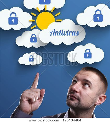 Business, Technology, Internet And Marketing. Young Businessman Thinking About: Antivirus