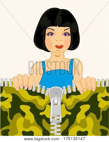 Making look younger girl brunette unbuttons lightning on camouflage fabrics