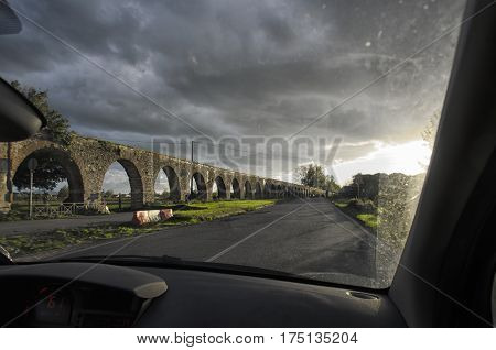 View of an aqueduct from inside the car