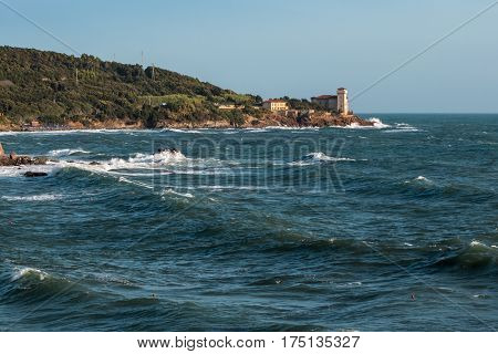 Boccale Castle, Seashore And Choppy Sea In Livorno, Italy