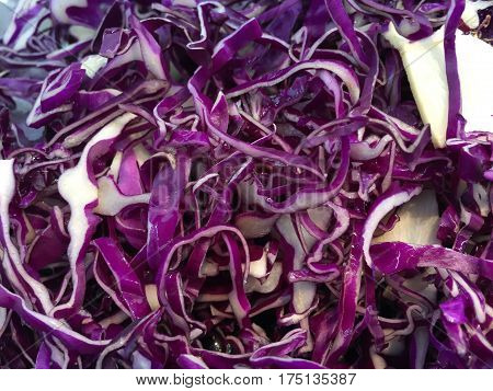 Sliced sour cabbage ready form making a salad