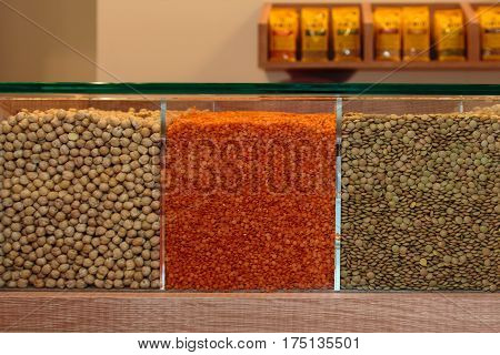 Seeds Assortments Inside Glass Table Display