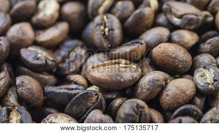 Roast fresh dark coffee bean macro picture