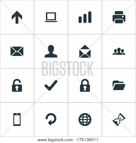 Vector Illustration Set Of Simple Practice Icons. Elements Statistics, Envelope, Dossier And Other Synonyms Hourglass, Unlock And Message.