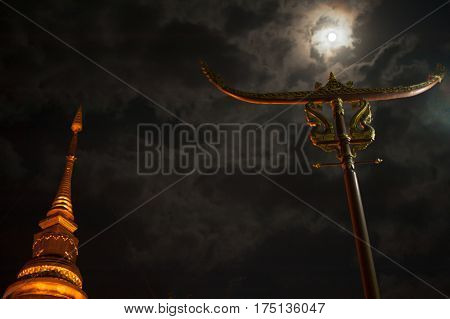 Temple with Sky and Fullmoon with clound