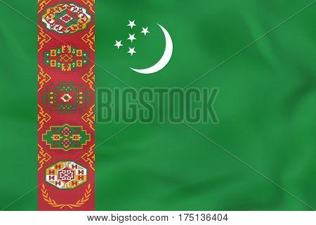Turkmenistan Waving Flag. Turkmenistan National Flag Background Texture.