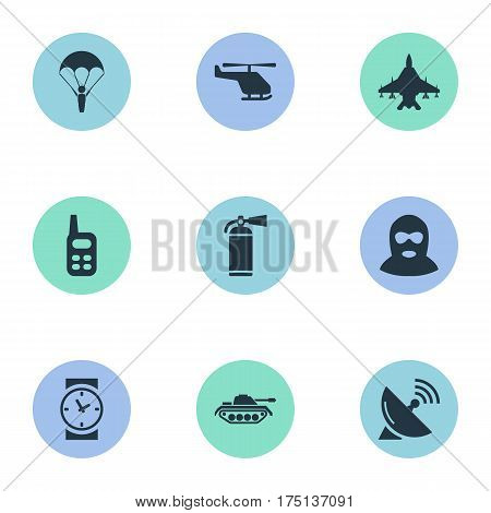Vector Illustration Set Of Simple Terror Icons. Elements Heavy Weapon, Terrorist, Extinguisher And Other Synonyms Tank, Fighter And Heavy.