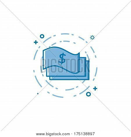 Vector illustration of flat bold line paper money icon. Graphic design concept of internet earn and cash. Use in Web Project and Applications. Blue outline isolated object.